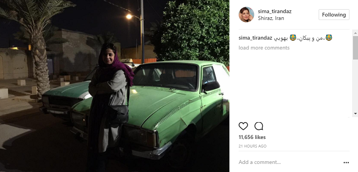 عکس|یهویی خانم بازیگر و ماشین نوستالژیک